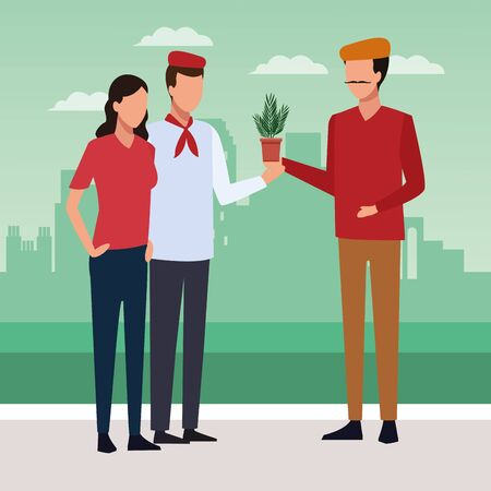 Couple and artist holding a plant over green background of urban city, colorful design, vector illustration