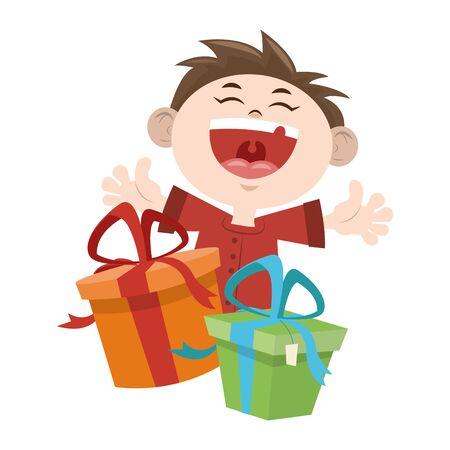 cartoon happy boy with gift boxes icon over white background, vector illustration Illusztráció