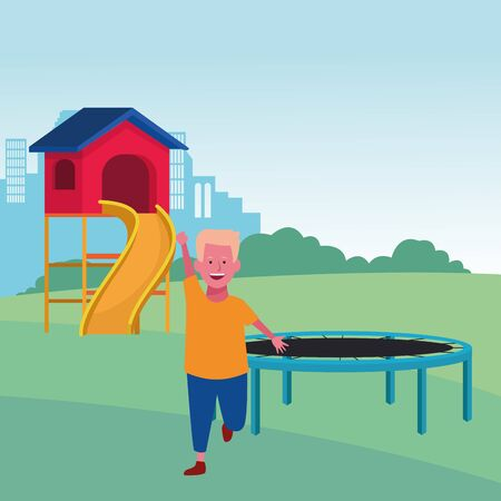 kids zone, cute boy with trampoline and slide playground vector illustration