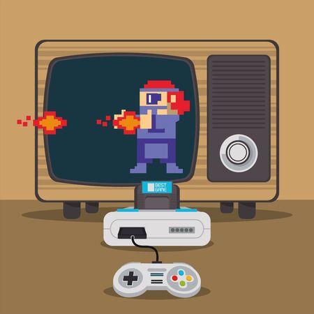 Consola pixelada de videojuegos y diseño de ilustración de vector de tv antigua Ilustración de vector