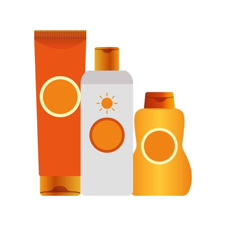 sunscreens bottles icon over white background, colorful design, vector illustration Illustration