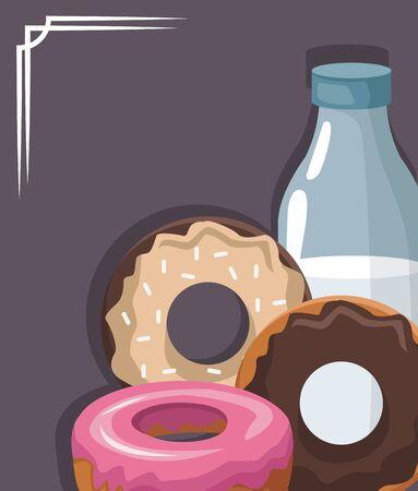 sweet donuts and milk bottle over gray background, colorful design, vector illustration Ilustração