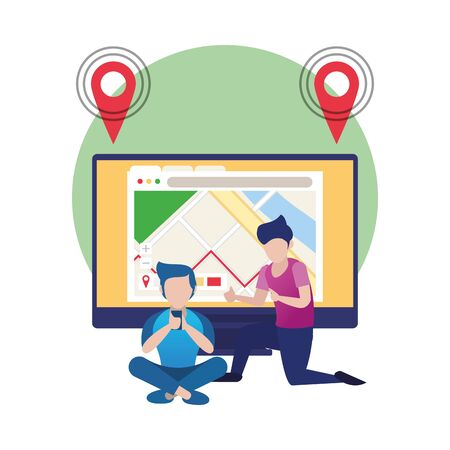 young men using smartphone and desktop with gps app vector illustration design