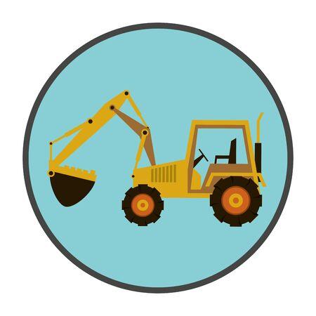 Machine de construction pelle véhicule icône illustration vectorielle conception