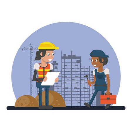 couple of builders working under construction scene vector illustration design Vetores