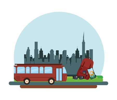 world travel scene with bus and icons vector illustration design