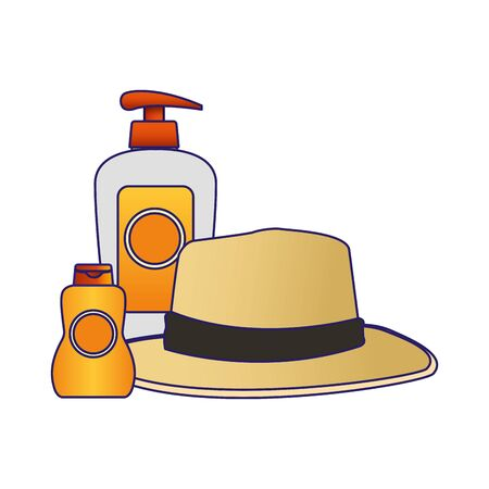 beach hat with sunscreens bottles over white background, vector illustration