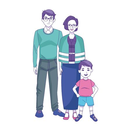 man, old woman and boy standing over white background, vector illustration