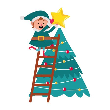 christmas elf putting a star on the christmas tree icon over white background, vector illustration