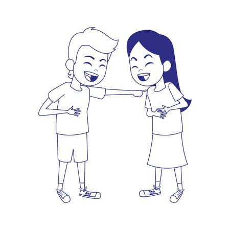 cartoon girl and boy laughing icon over white background, vector illustration