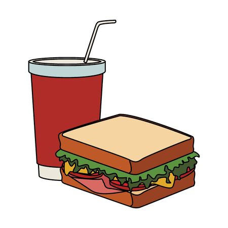 sandwich and drink cup icon over white background, vector illustration Foto de archivo - 137954361