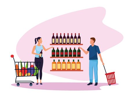 avatar woman with supermarket car and man with basket at supermarket stand over white background, colorful design , vector illustration Illustration