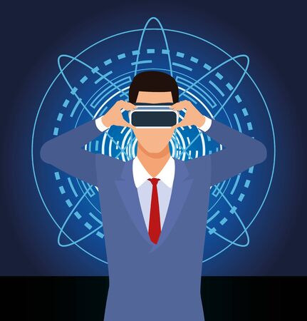 artificial intelligence technology man using vr goggles vector illustration