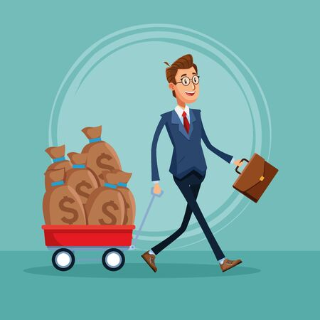 Businessman banker pulling money bags and holding briefcase cartoon vector illustration graphic design
