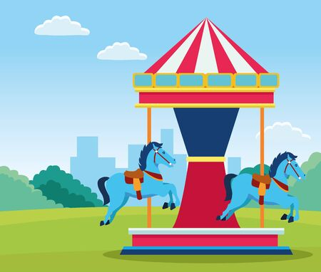 horses fair carousel in the field background, colorful design. vector illustration Ilustração