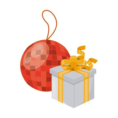 gift box present with mirror ball party vector illustration design Illustration