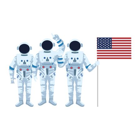group of astronauts with us flag icon over white background, colorful design , vector illustration Çizim