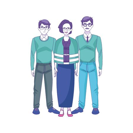 two men with old woman standing over white background, vector illustration