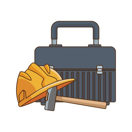 tools box and safety helmet icon over white background, vector illustration Иллюстрация