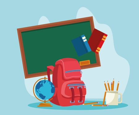 school backpack and chalkboard with related icons around over blue background, colorful design , vector illustration Ilustrace