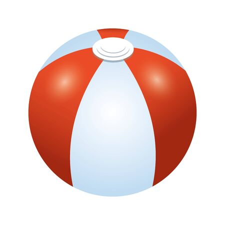 beach ball icon over white background, colorful design, vector illustration