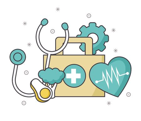 first aid kit with stethoscope and cardio heart over white background, vector illustration