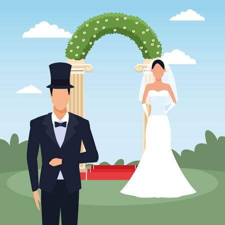 Groom and bride standing over floral arch and landscape background, vector illustration Ilustração