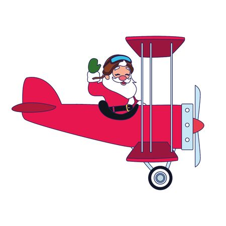 happy santa claus flying on airplane icon over white background, vector illustration