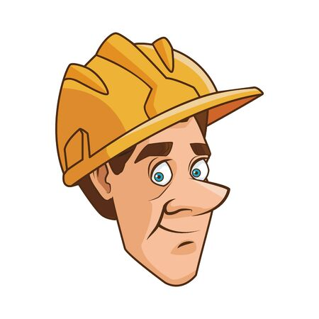 cartoon man with construction helmet icon over white background, vector illustration