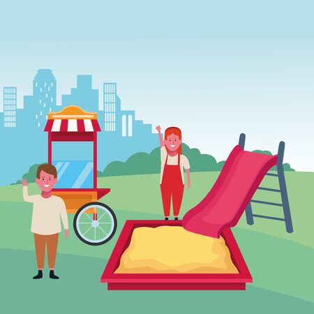 kids zone happy boy and girl with slide sandbox and food booth playground vector illustration