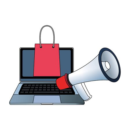 laptop computer with shopping bag and megaphone over white background, vector illustration
