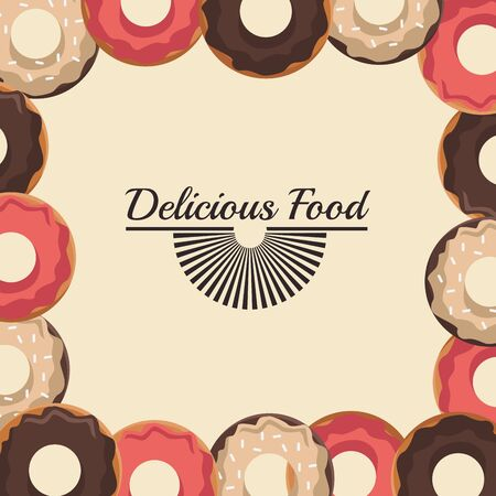 delicious food design with sweet donuts frame over white background, colorful design , vector illustration