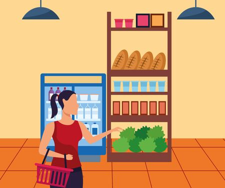 avatar woman at supermarket aisle with stands, colorful design , vector illustration