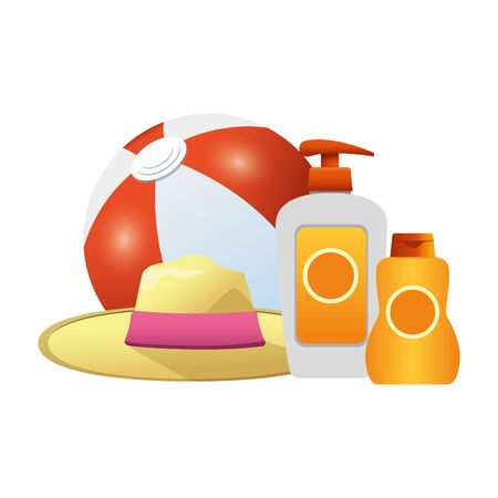 beach ball and hat with sunblock bottles icon over white background, colorful design, vector illustration
