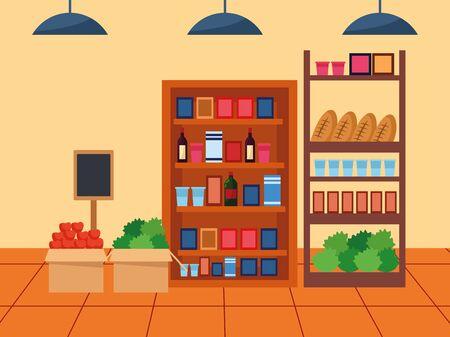 supermarket stands with groceries, colorful design , vector illustration