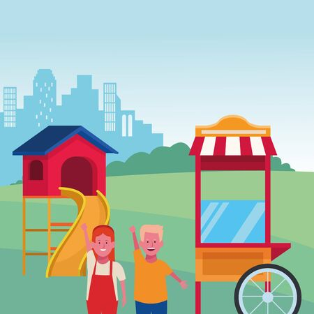 kids zone, happy boy and girl food booth slide city park playground vector illustration