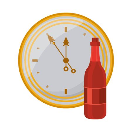 champagne bottle drink with time clock vector illustration design