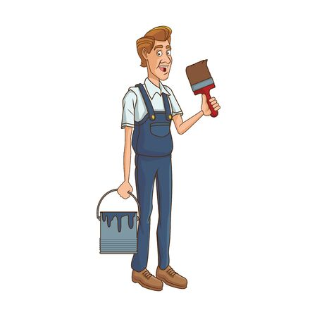 painter worker holding a paint bucket and brush icon over white background, vector illustration Illustration