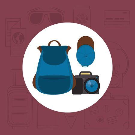 world travel scene with set icons vector illustration design