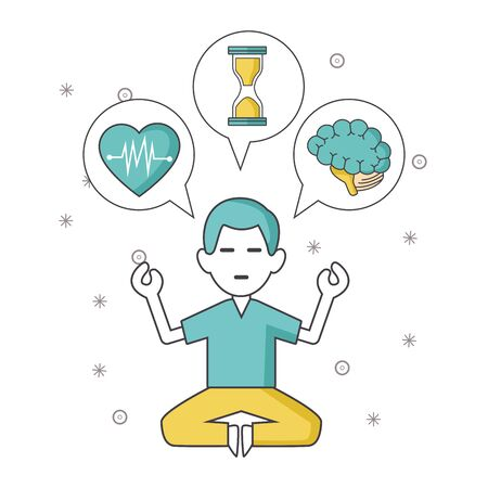 meditating man with thoughts of heart, hourglass and brain icons over white background, vector illustration