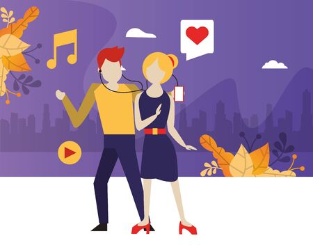 young couple using device with social media app vector illustration design