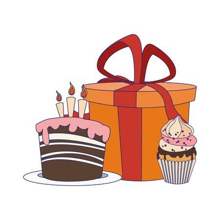 birthday cake and cupcake with gift box icon over white background, vector illustration Ilustração