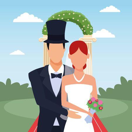 Groom and bride standing over floral arch and landscape background, vector illustration Illustration