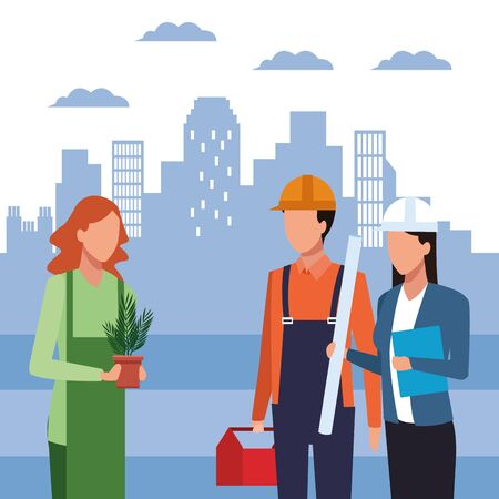 woman holding a plant pot and builder and enginner woman standing over blue city urban background, colorful design, vector illustration