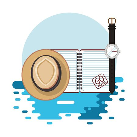 world travel scene with hat and icons vector illustration design