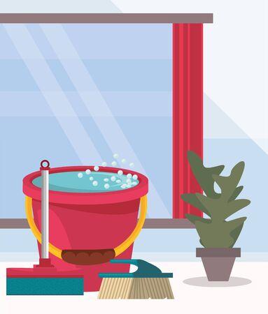 house room with housekeping equipment vector illustration design Stock fotó - 137866920