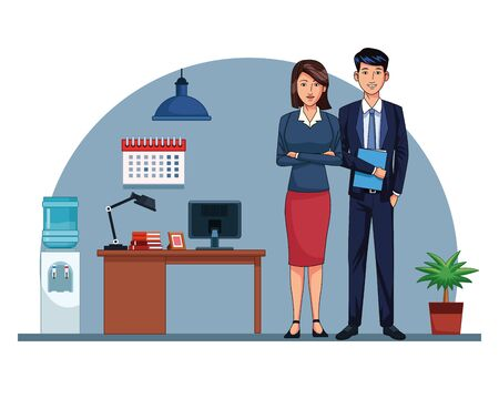Business workers working in the office cartoons vector illustration graphic design Stock fotó - 137892233