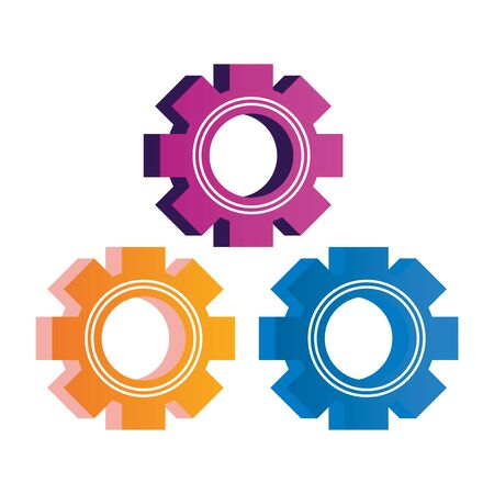 gears settings setup isolated icons vector illustration design Çizim