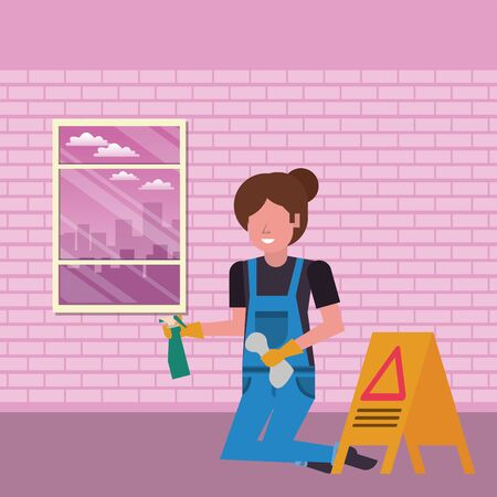 housekepping woman worker with splash bottle vector illustration design Vettoriali