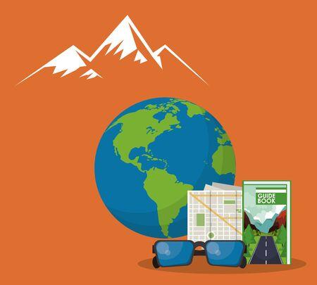 world travel scene with earth planet vector illustration design